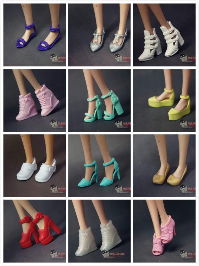 Wholesale Doll Shoes  Nice Children  Girls Gift Pullip Doll Accessories Lot Shoes Princess Sexy Casual For Barbie Doll