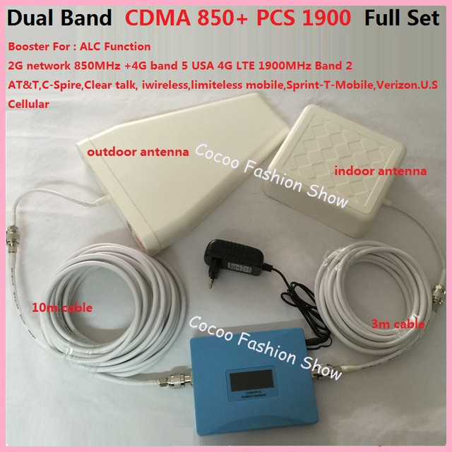 USA Dual 4G booster GSM 850mhz CDMA PCS 1900MHz mobile phone signal repeater booster amplifier for AT&T Sprint Verizon T mobile