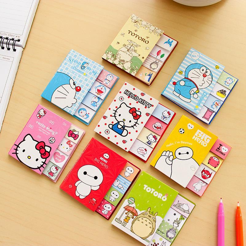 4pcs/lot Kawaii Folding Big hero memo pad Cute Kitty totoro sticky notes Post it bookmark Office School supplies