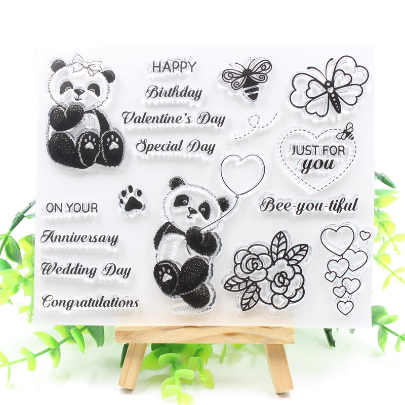 YPP CRAFT Panda Transparent Clear Silicone Stamps for DIY Scrapbooking/Card Making/Kids Fun Decoration Supplies