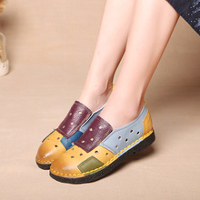 Hollow Out Retro Patchwork Genuine Leather Women Shoes Colorful Slip on Mommy Flats Spring and Autumn