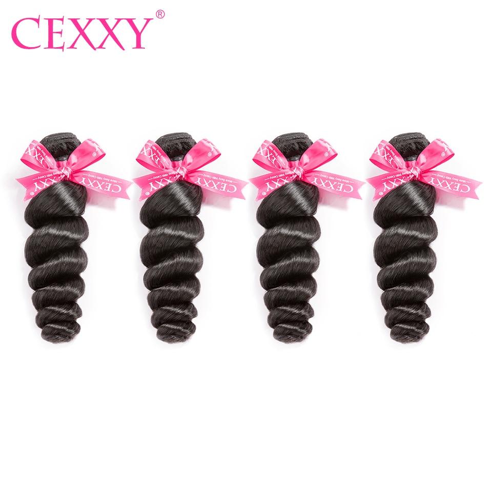 8A CEXXY Malaysian Virgin Hair Loose Wave 4 Bundles Lot Human Hair Bundles Natural Color Free