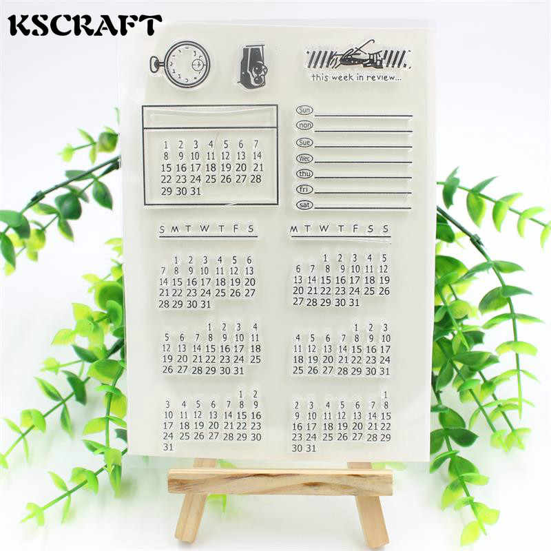 KSCRAFT 1 sheet DIY Calendar Transparent Clear Rubber Stamp Seal Paper Craft Scrapbooking Decoration Projects 023