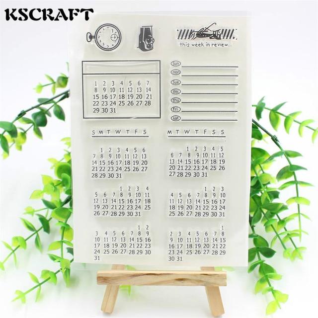 KSCRAFT 1 folha DIY Calendário Transparente Limpar Borracha Selo Selo Scrapbooking Decoração do Ofício de Papel Projetos 023