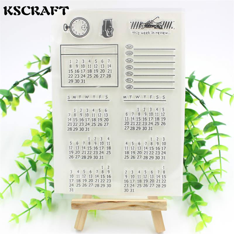 KSCRAFT 1 sheet DIY Calendar Transparent Clear Rubber Stamp Seal Paper Craft Scrapbooking Decoration Projects