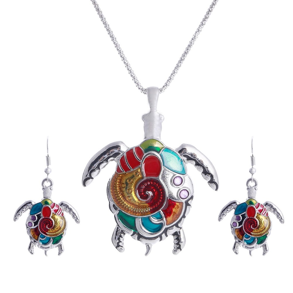 High Quality Gold Silver Plated Multicolor Necklace Earring Set Cute Turtle  Animal Jewelry Sets For Party