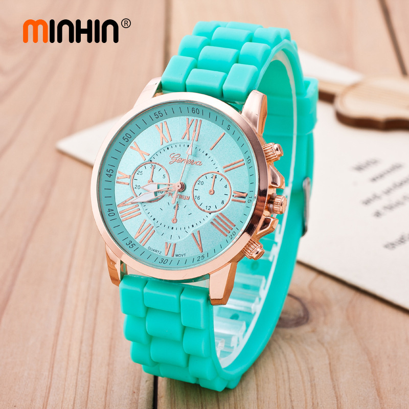 MINHIN Brand Fashion Geneva Silicone Quartz Wristwatches Women Jelly Colors Casual Watches Relogio Feminino