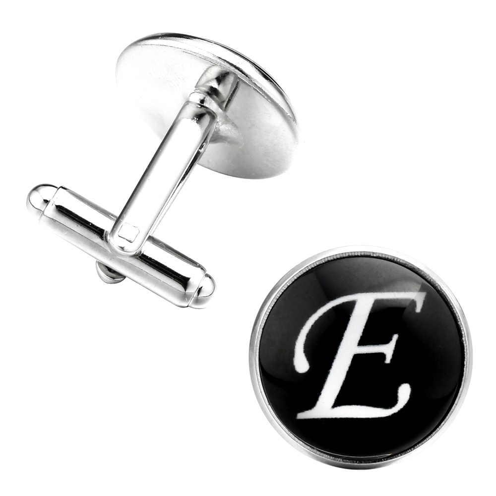 MeMolissa 2018 Yeni Varış Cam Cabochon Harfler Kol Düğmeleri Erkekler Için Benzersiz Moda Gümüş Erkek Bakır Serin kol düğmeleri E Takı