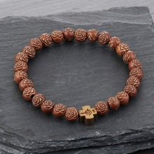 Bracelets de manchette à enveloppe élastique catholique pour hommes, en bois naturel, Bracelets pour femme perles, bijou de prière croisée SL32