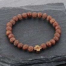 Catholic Elastic Wrap Bracelets for Women Men Natural Wood Rosary Beads Cuff Bracelets&Bangles Cross Prayer Jewelry Pulsera SL32