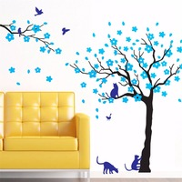 Yanqiao Plum Blossom Tree and Cat Wall Decal Sticker Art Kids Room Teen Girl Boys Wallpaper Mural Nursery Decor Peel and Stick