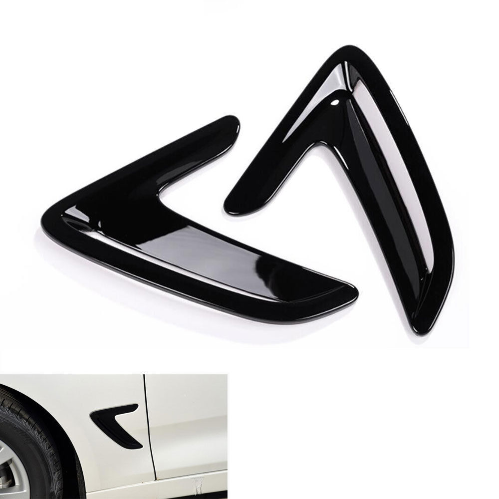 2pcs/pair Chrome Black Side Wing Air Flow Fender Intake Vent Cover Garnished Bezel Decoration For 3 Series F30 GT 2013-2016 for bmw x5 f15 2014 2015 abs side door air flow fender intake vent cover trim black