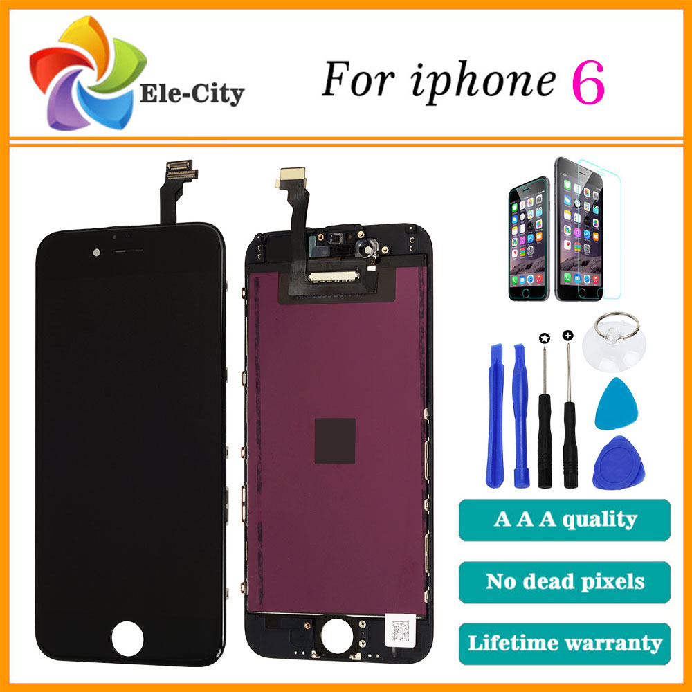 100% Guarantee iphone 6 Display LCD replacement Touch Screen Digitizer Screen Lens Assembly best Black/White+ 7 in 1 tools black white lcd touch screen lens display digitizer assembly replacement for iphone 4 4g gsm cdma