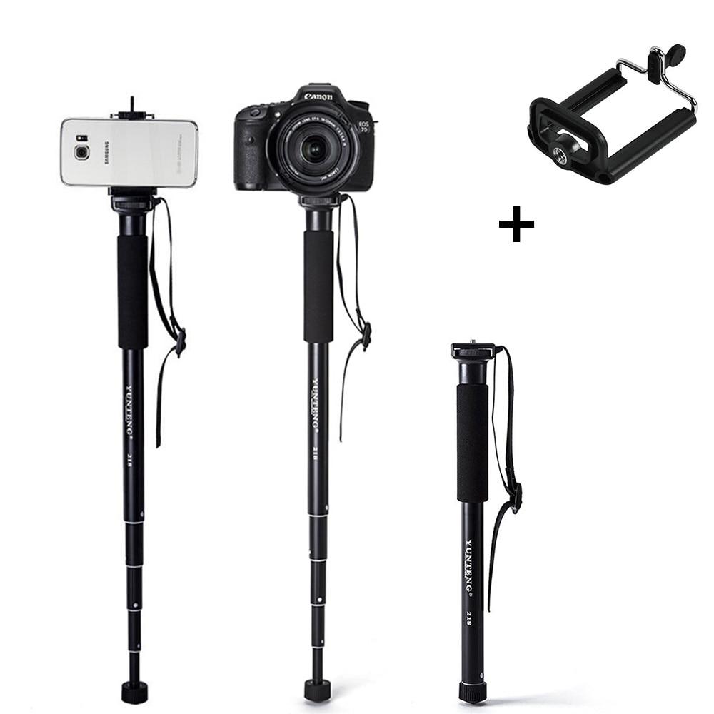 Монопод алюмінієвого сплаву для Gopro DLSR дзеркальних фотокамер Розширюваний Selfie Stick + телефон для Iphone Huawei Samsung Xiaomi Телефони