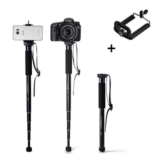 Aluminum Alloy Monopod for Gopro DLSR SLR Cameras Extendable Selfie Stick+Phone Holder for Iphone Huawei Samsung Xiaomi Phones