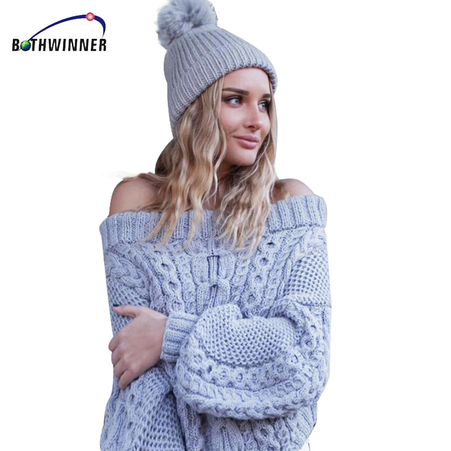 bade9a3689bfbb Bothwinner Women Casual Pullover Sweaters Ladies Autumn Blue Cable Knit  Long Sleeve Off The Shoulder Oversized Sweater