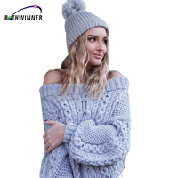 Bothwinner Women Casual Pullover Sweaters Ladies Autumn Blue Cable Knit Long Sleeve Off The Shoulder Oversized Sweater
