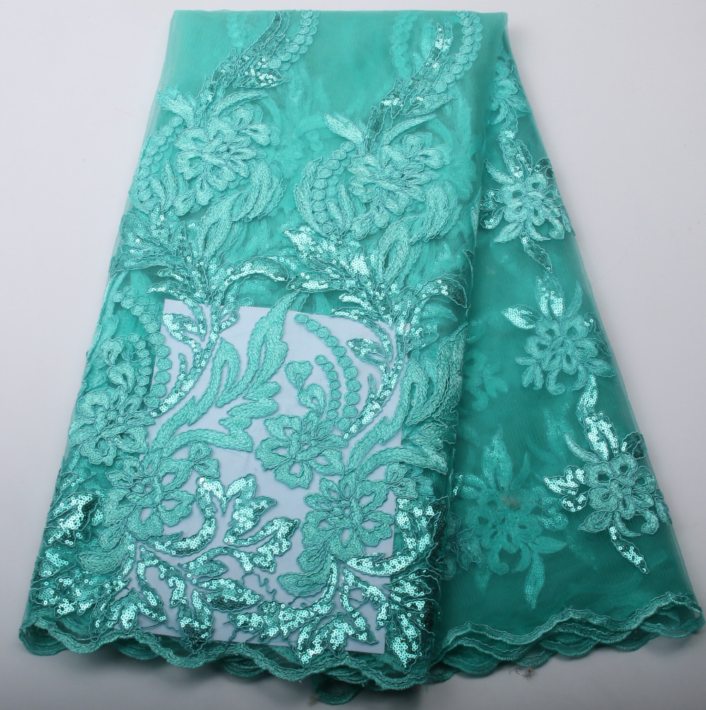 Teal French Mesh Lace Fabric High Quality Green Embroidered Tulle African Net Nigeria Party Dress GD298B