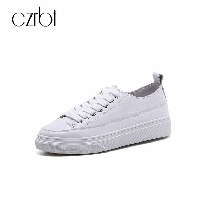 CZRBT Women Shoes Spring Autumn Handmade Genuine Leather Casual Concise Lace-Up Shoes Shallow Ladies Breathable Board Shoes цена