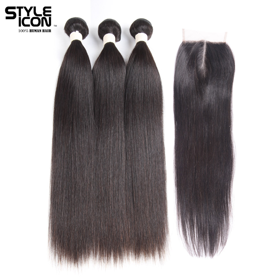 Styleicon Straight Hair Bundles With Closure Brazilian 3 Bundles With Lace Closure Non Remy Human Hair Bundles Weave