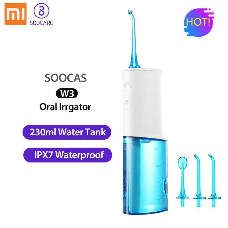 Xiaomi Soocas W3 portable oral irrigator USB rechargeable water dental flosser irrigator for cleaning teeth water jet toothpick-in Oral Irrigators from Home Appliances    1