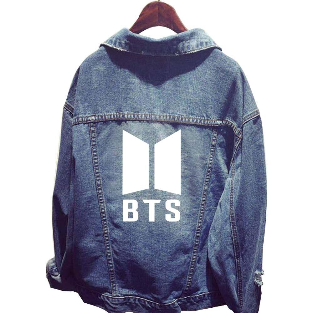 2018 New Korean Fashion Army Bts BTS Kpop Jacket Hoodie Harajuku Women Streetwear Denim Jacket Casual Single Breasted Jean Coat