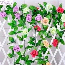 FENGRISE מזויף ורדים משי אייבי גפן פרחים מלאכותיים לבית קישוט חתונה דקורטיבי עלה תלוי גרלנד עלים ירוקים