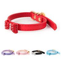Adjustable Cat Collar Luxury Crystal Bowknot Leather Pet Collars For Puppies Small Dogs Kitten Diamond Necklace
