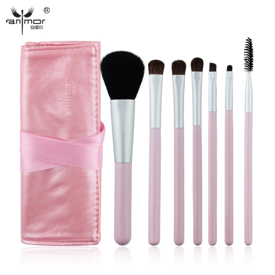 Anmor Portable 7 PCS Makeup Brush Set Mini Make Up brushes High Quality Synthetic Makeup Brushes with Bag FH07 high quality 7 makeup brush set kit in sleek berry red leather bag make up portable brushes free shipping