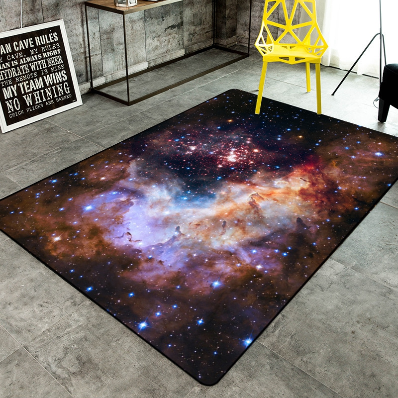 3D Galaxy Space Rugs And Carpets For Hallway Living Room Bedroom Coffee Tea Table Floor Mats Universe Pattern Anti-Slip Carpet