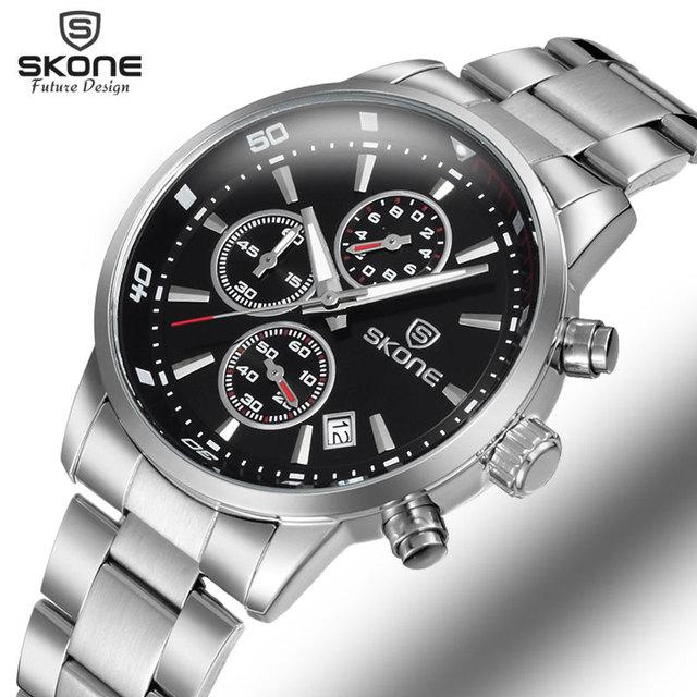 SKONEคนโครโนกราฟ24ชั่วโมงแสดงกีฬานาฬิกาผู้ชายแบรนด์หรูเงินเหล็กควอตซ์-นาฬิกาธุรกิจนาฬิกาทหารRelógio