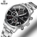 SKONE Man Chronograph 24 Hours Display Sport Watches Men Luxury Brand Silver Steel Quartz-watch Business Military Watch Relogio