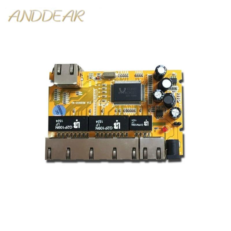 OEM/ODM 5 Port 10/100/1000M realtek chipset gigabit switch 5/6 civil grade industri pcba Module network switch poe ethernet hub