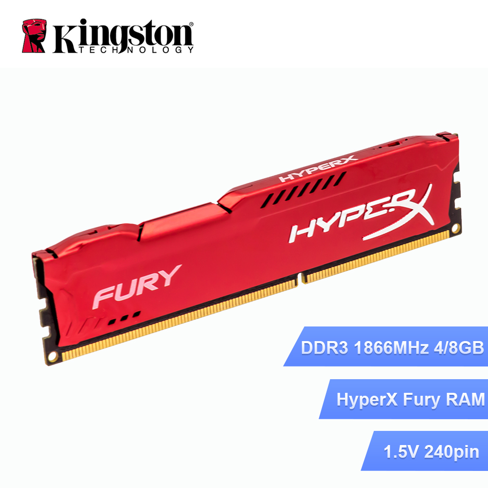 Original de Kingston HyperX FURY DDR3 RAM 4 GB 8 GB 1866 MHz 240Pin DIMM 1,5 V para PC de escritorio Intel memoria RAM rojo computadora jugador