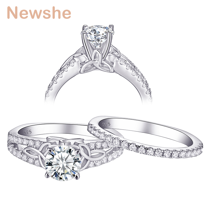 Newshe 1.5Ct White Round CZ AAA Solid 925 Sterling Silver Wedding Engagement Ring Bridal Set Classic Jewelry For Women 1R0025