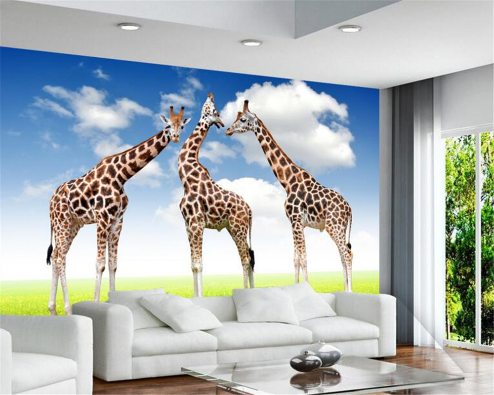 Beibehang Grass Giraffe 3 D Wallpaper Photo Home Decoration Mural 3D  Sitting Room The Bedroom TV Wallpaper For Walls 3 D  In Wallpapers From  Home ...