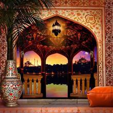 רצפת ערבי מרפסת ארמון לילה טור אור דקל עץ תפאורות מחשב הדפסת חתונה רקע
