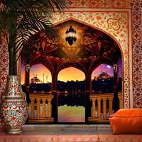 floor arabian balcony palace night column light palm tree backdrops Computer print wedding background