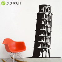 JJRUI The Leaning Tower Of Pisa Wall Art Sticker Vinyl Room Decal Italy Landmark Diy Decor