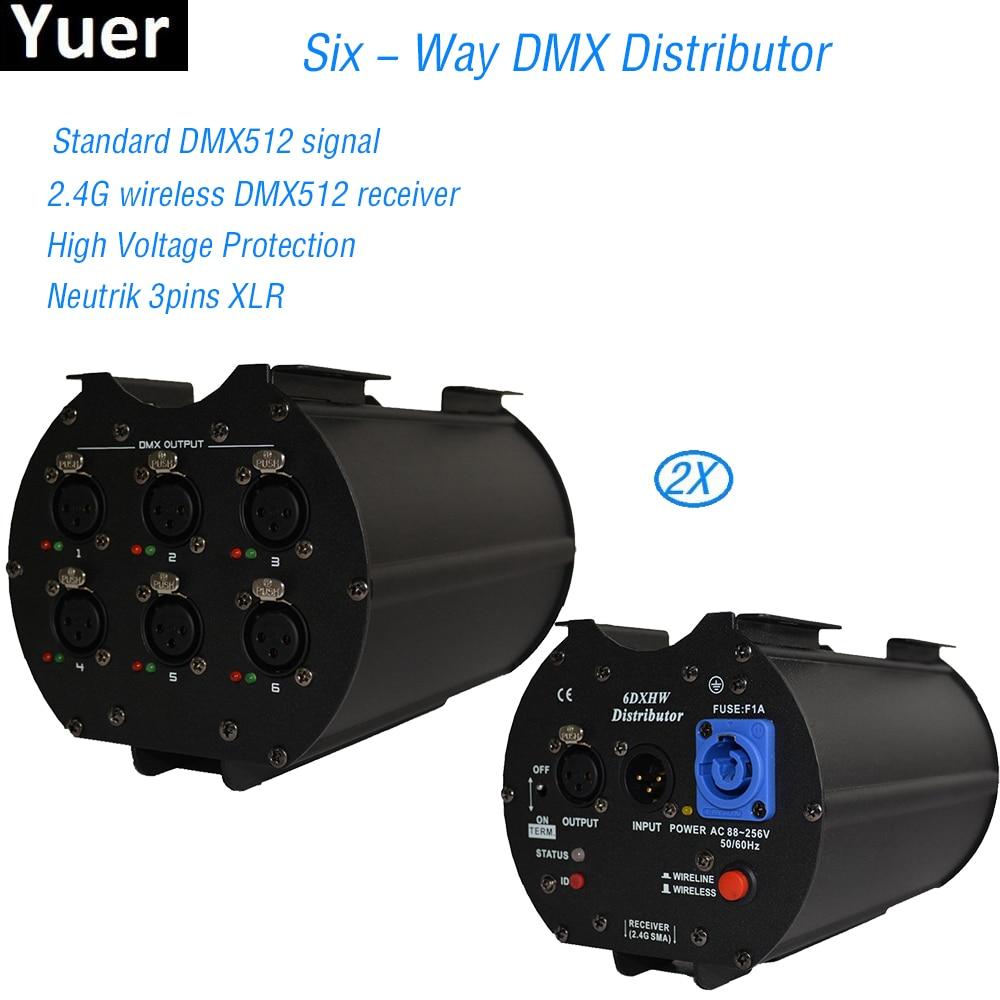 2Pcs/Lot Newest Six-Way Distributor DMX512/1990 Amplifier Splitter Repeater 6DX 110V 230V XLR Pin3 With One Input CE UL