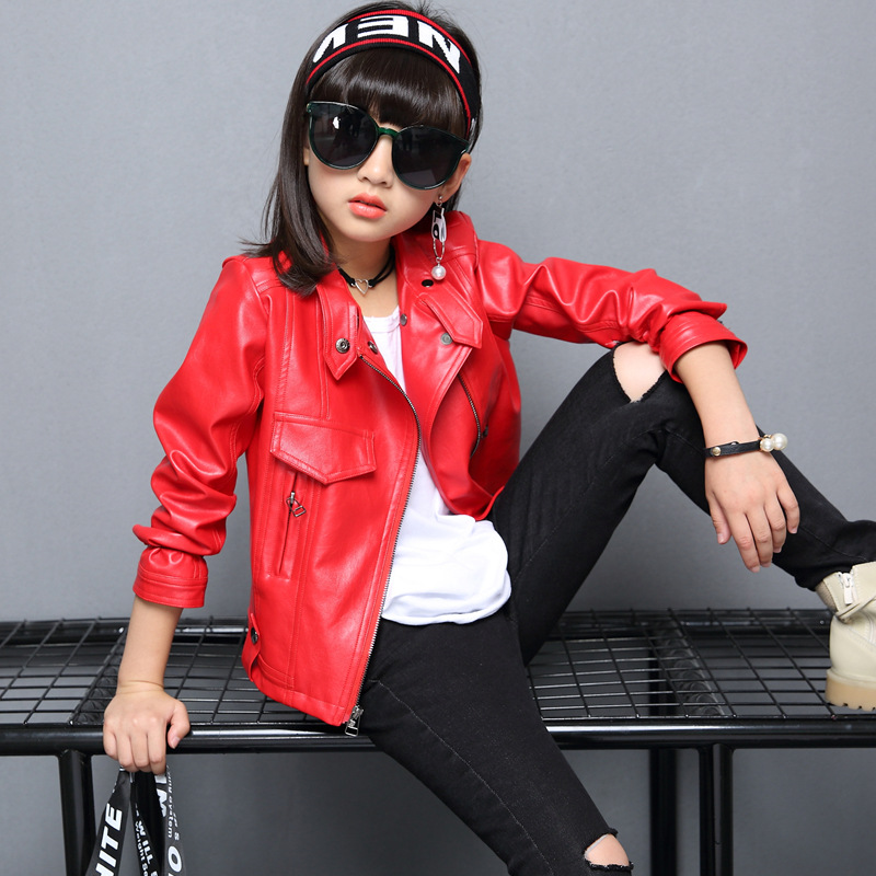 04c2dda5f US $23.88 36% OFF|baby girl motorcycle PU leather jacket winter teenage  kids girl sports coat children clothes little girls warmouterwear  clothing-in ...
