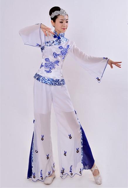 0115242e4 Yangko Dance Costumes Blue and White Porcelain Folk Dance Costume ...