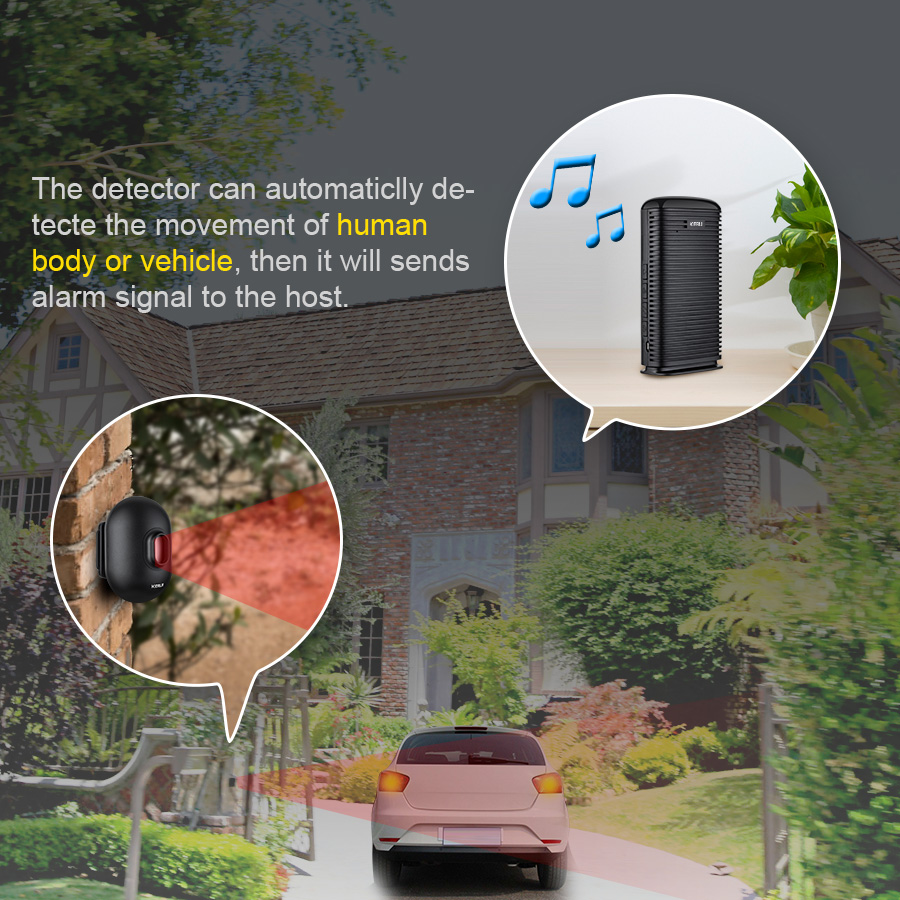 Image 2 - KERUI DW9 Wireless Driveway Security Alarm Waterproof PIR Motion Detector Driveway Alarm Garage Welcome Burglar Alarm SystemSensor & Detector   -
