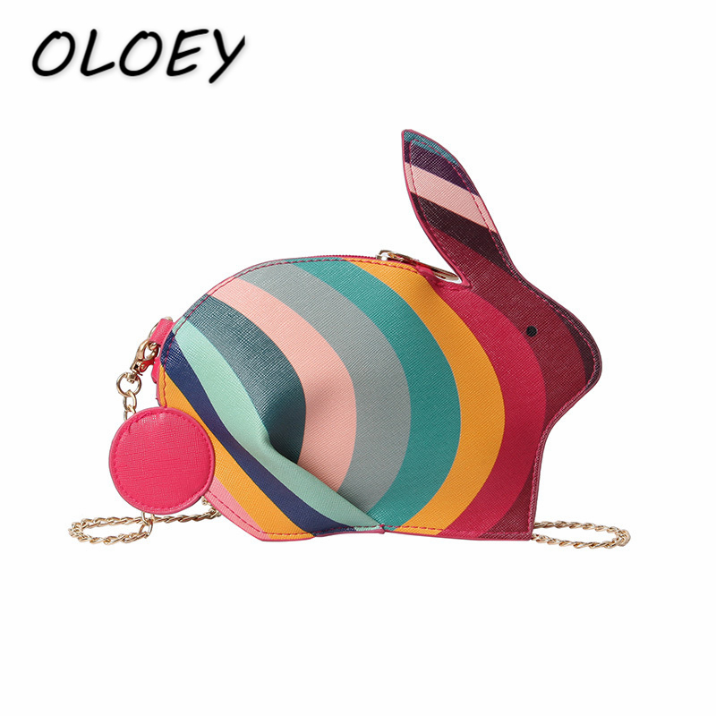2018 Colorful Rabbit Bag Fashion Women PU Leather Animal Pack Messenger  Chain Crossbody Bag Girls Creative 9e98b1fce822b