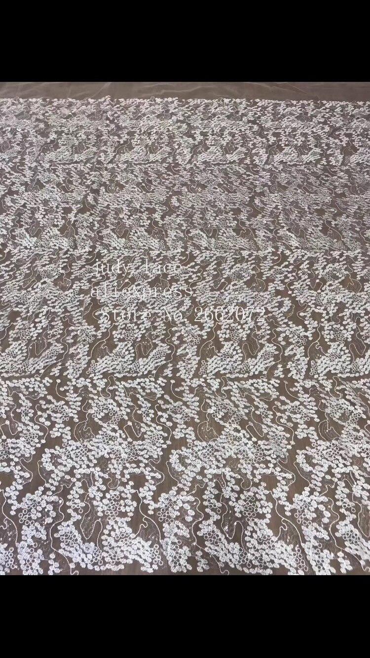 5 yards/sac ZC81 # blanc broderie maille moirée motif dentelle paillettes mode tissu utilisé pour la scène de robe de mariée