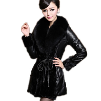 New Winter Women 2018 Long Paragraph Imitation Fur Coat raccoon Coat Collars Simulation Imitation Foxskin Leather Clothes LXT01