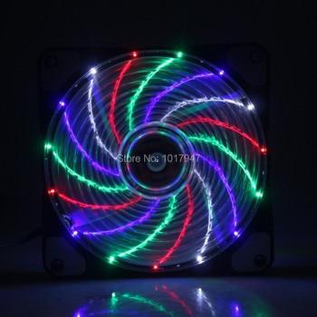 20Pcs lot 3pin 4Pin 15 LED Colorful 12V DC 120mm 120x10mm 12CM PC Computer CPU Cooler Cooling Fan