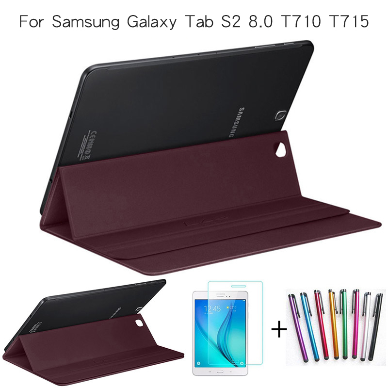 Ultra Slim Smart PU Leather Magnet Cover for Samsung Galaxy Tab S2 8.0 T710 T715 Tablet Case Free Screen Protector+Stylus Pen ultra thin folio pu leather stand smart case for cover samsung galaxy tab 4 10 1 t530w screen protector stylus pen free shipping