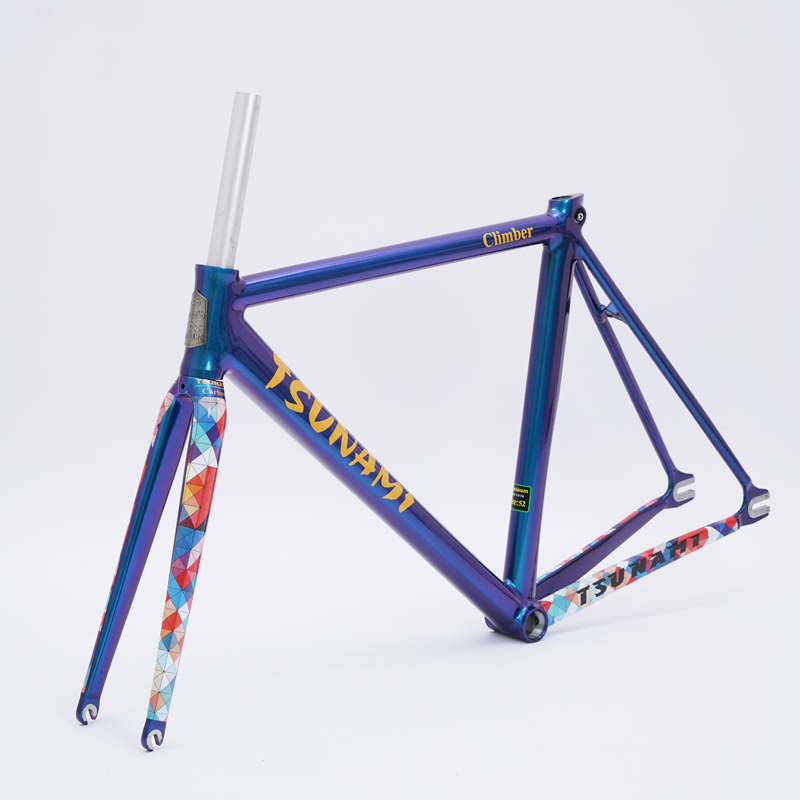 TSUNAMI Chameleon Fixed Gear Frameset Aluminium Frame with Carbon Fork 700c x 50cm 52cm High Quality