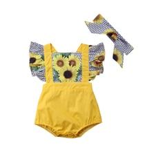 Brand New Baby PatchWork Sunflower Clothing Newborn Girls Ruffles Romper Jumpsui